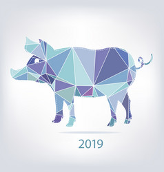 2019 new year card with pig made of triangles vector image