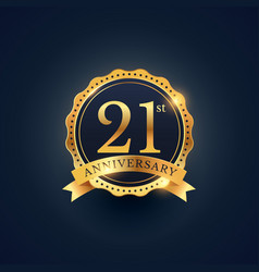 21st anniversary celebration badge label vector