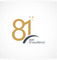 81 year excellence template design vector image