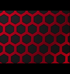Abstract red and black background with hexagons vector