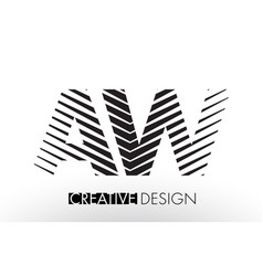 Aw a w lines letter design with creative elegant vector