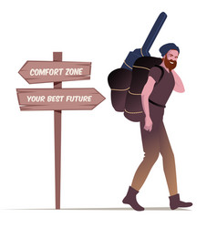 Bearded young man with hat carrying backpack and vector