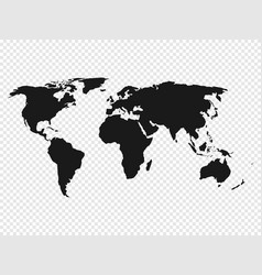 black world map silhouette on transparent vector image