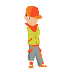 boy in a red cap green shirt and shorts dancing vector image