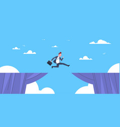 Brave business man jump over cliff gap business to vector