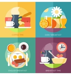 Breakfast icons flat set with coffee time corn vector