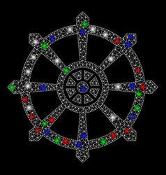Bright mesh 2d dharma wheel with light spots vector