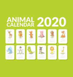 Calendar 2020 monthly calendar with cute animals vector