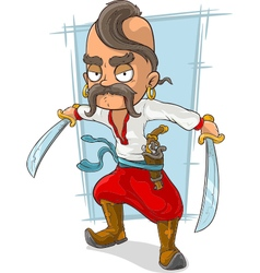 Cartoon cossack with swords and vector image