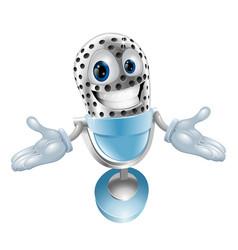 Cartoon microphone mascot vector