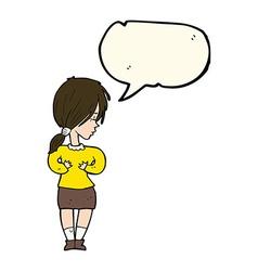 Cartoon shy woman with speech bubble vector