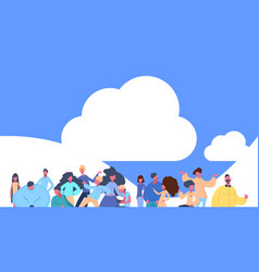 casual people group standing over cloud sky vector image