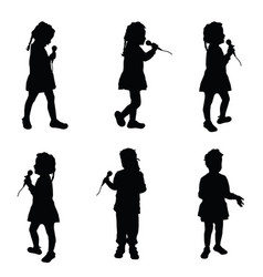 Child singing silhouette with microphone vector