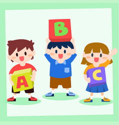 children holding box of alphabet back to school vector image