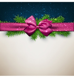 Christmas background with purple bow vector