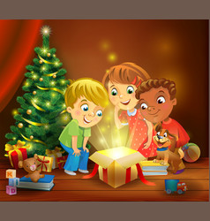 christmas miracle - kids opening a magic gift vector image