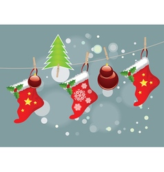 Christmas Stockings on Rope6 vector
