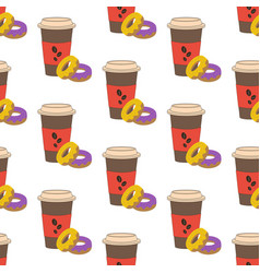 coffee and donut seamless pattern vector image