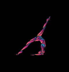 creative silhouette gymnastic girl art vector image