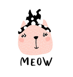Cute cat girl with text meow hand vector
