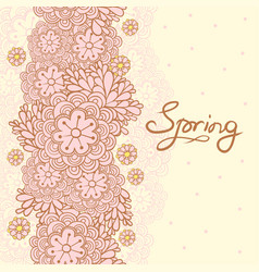Cute floral romantic card spring background vector