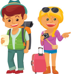 cute traveller couple vector image