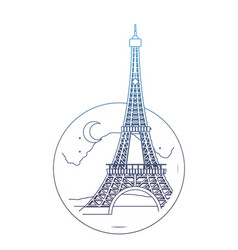 degraded line eiffel tower paris at night with vector image