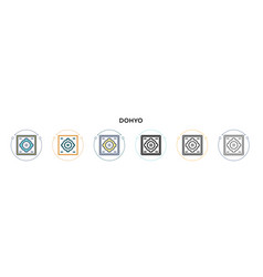 Dohyo icon in filled thin line outline and stroke vector