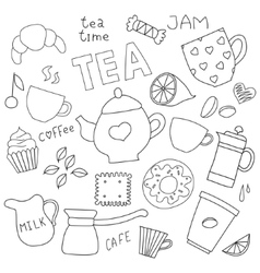 Doodle set for tea and coffee and sweets vector image