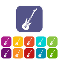 electric guitar icons set vector image