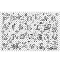 English alphabet doodle set vector