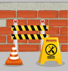 fence with cone construction vector image