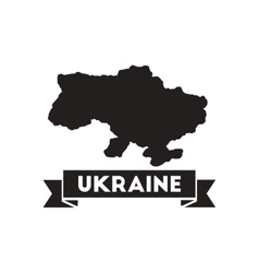 Flat icon in black and white map of Ukraine vector