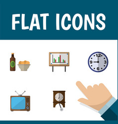 flat icon oneday set of beer with chips vector image