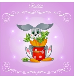 Fun rabbit boy with carrots on a purple background vector image
