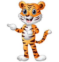 Funny tiger cartoon pointing both fingers vector