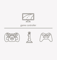 game controller thin line icons vector image