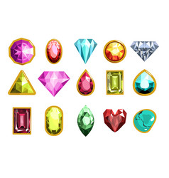 gemstones and precious stones different cutting vector image