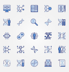 Genetics blue icons set - dna concept vector