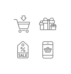 Gift box discount and sale icons vector