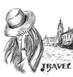 girl on an old town background vector image
