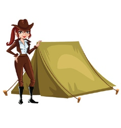 Girl-Scout-with-tent vector