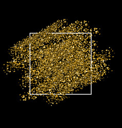 Gold glitter background with white frame vector