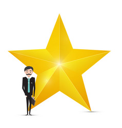 gold star icon and businessman on white vector image