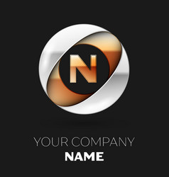 golden letter n logo symbol in the circle shape vector image