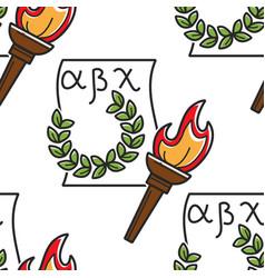 Greek alphabet laurel wreath and torch seamless vector