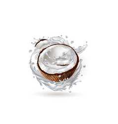 Half a coconut in a milk splash vector