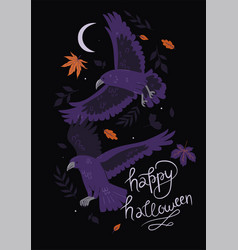 halloween card with crows and leaves vector image