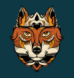 Hand drawn wolf with decorative elements vector