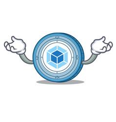 Hand up webpack coin character cartoon vector